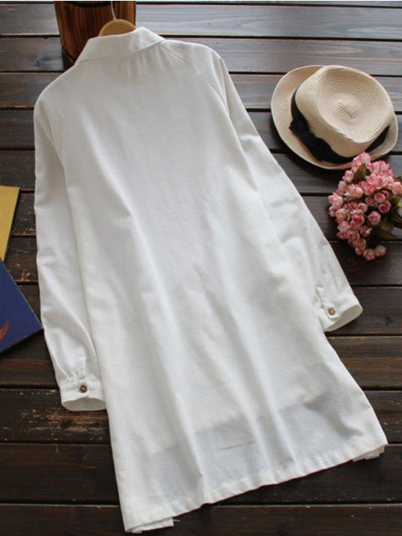 Shirt Collar Solid Irregular Blouse