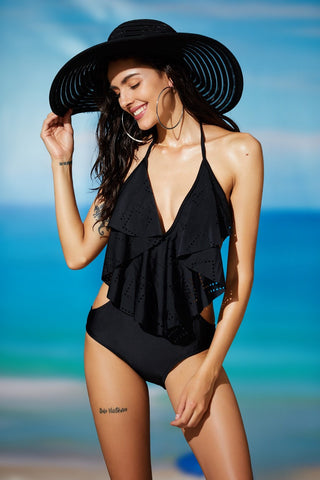 Women's One Piece V Neck Halter Flounce Monokini Swimwear
