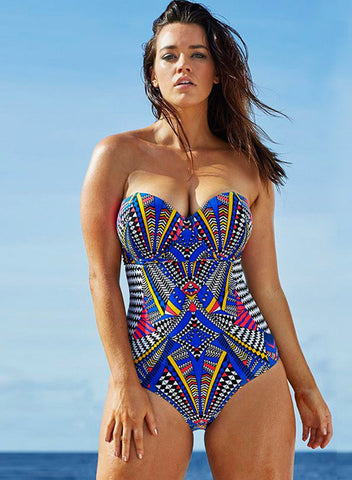 Women's Spaghetti Strap One Piece Printed Swimsuit