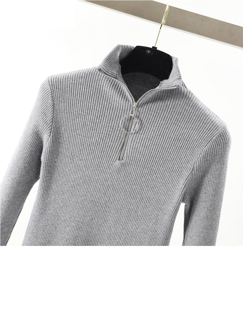 Women Zipper Turtleneck Solid Knitted Sweater
