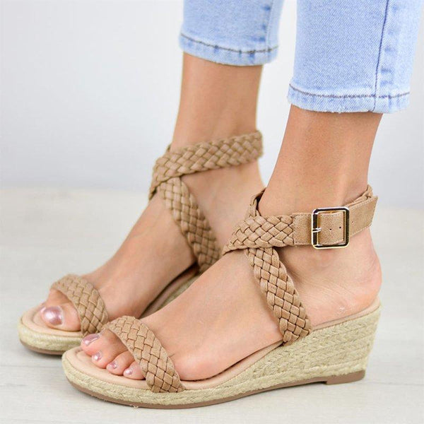 Women's Wedge Heel Peep Toe Buckle Strap Sandals