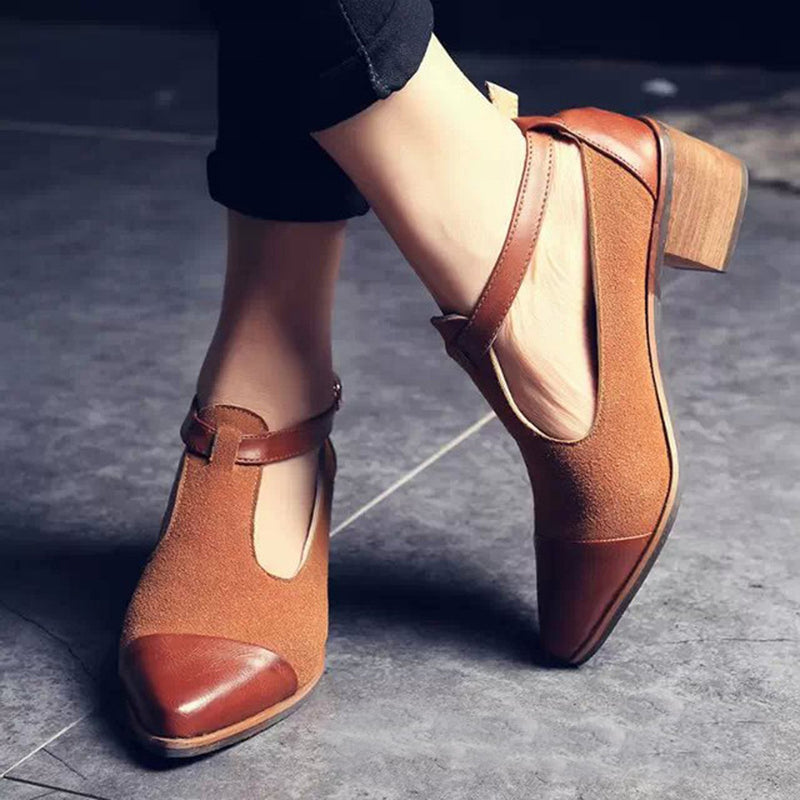 Vintage Pointed Toe Color Block Ankle Strap Shoes