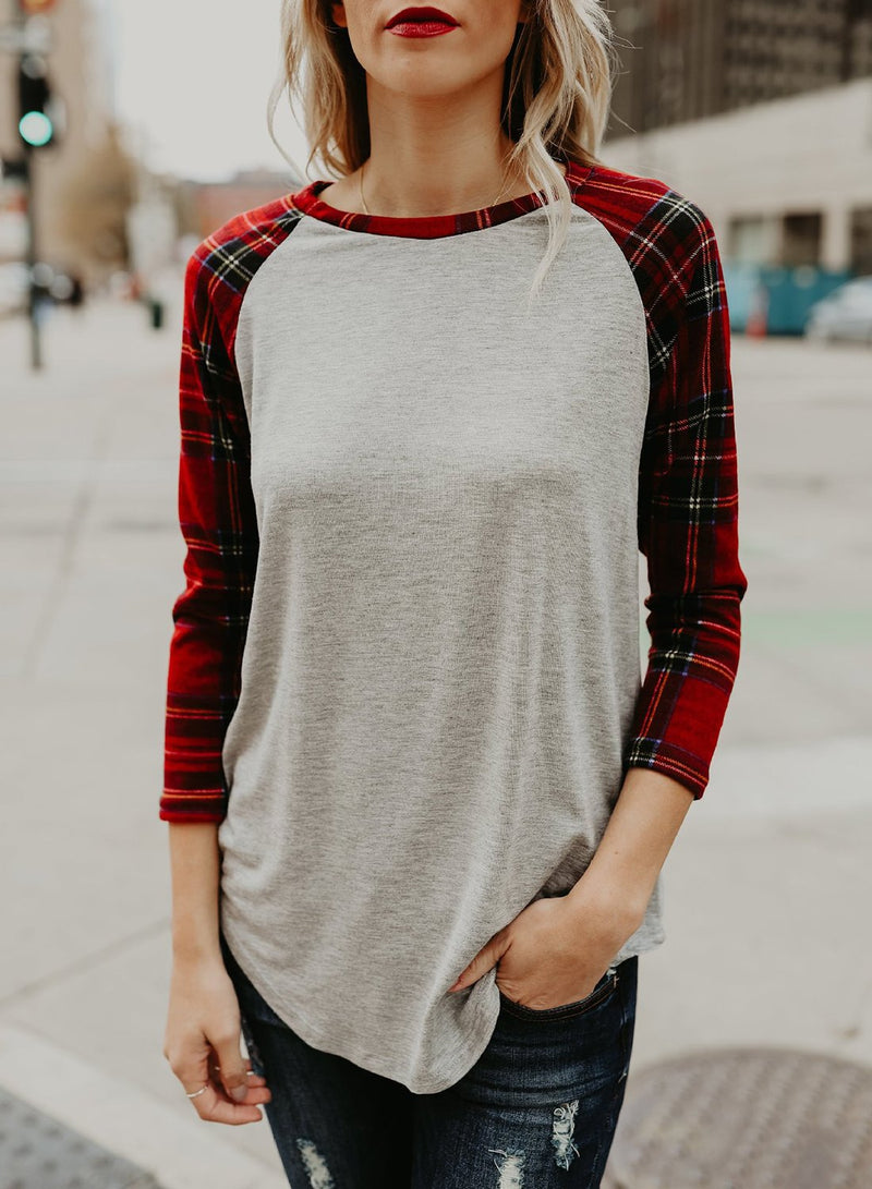 Women's Round Neck Plaid Sleeve Color Block Knit Tee Shirt