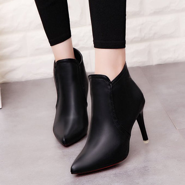 Women's Pointed Toe Back Zipper Solid Color Ankle Boots