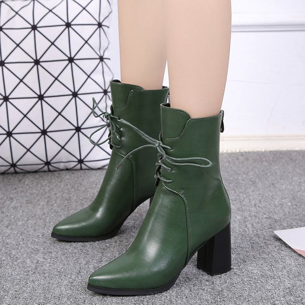 Women's Solid Block Heels Lace up Pointed Toe Mid-calf Boots