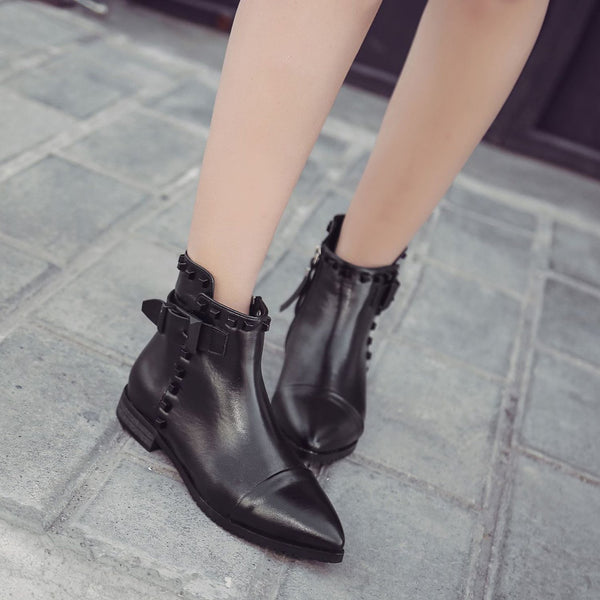 Women's Fashion Pointed Toe Solid Color Flat Ankle Boots