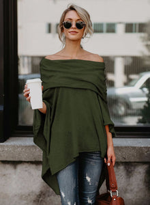 Women's Off Shoulder Irregular Loose Fit Tee