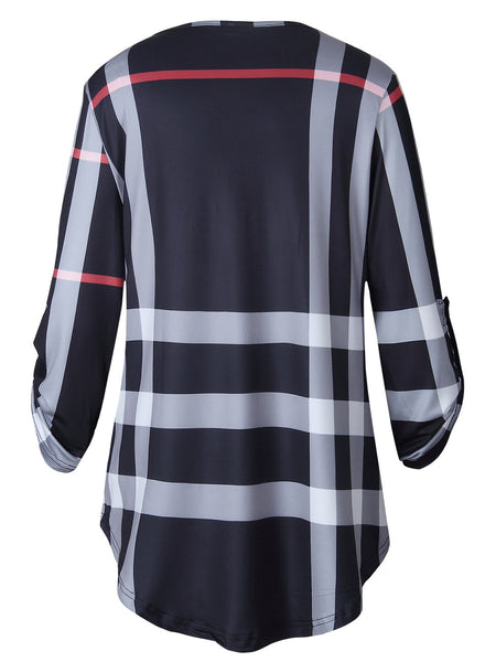 Women's V Neck 3/4 Sleeve Loose Plaid Tee Shirt