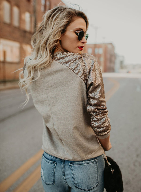 Women's Fashion Round Neck Long Sleeve Sequins Decoration Tee Shirt