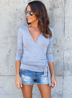Women's Fashion V Neck Long Sleeve Solid Color Pullover Tee Shirt