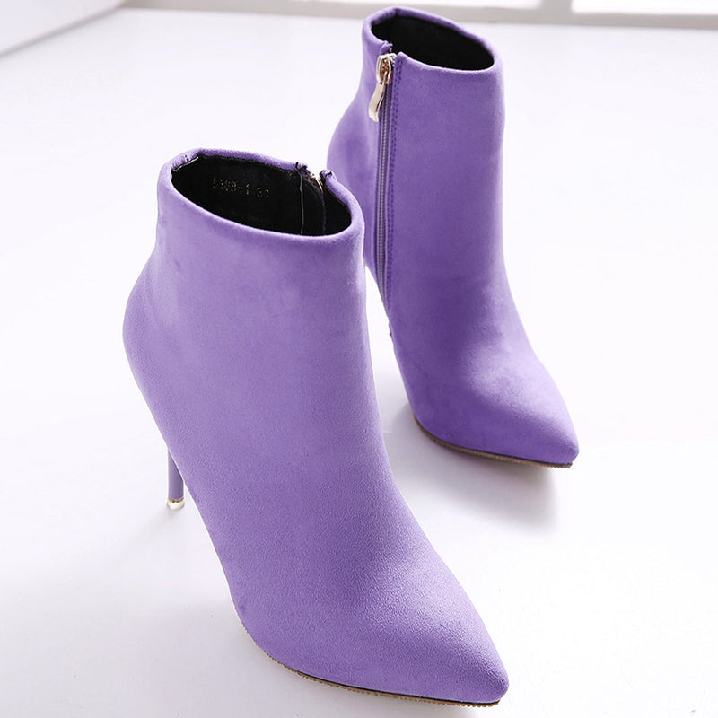 Women's Fashion Pointed Toe Stiletto Solid Color Ankle Boots