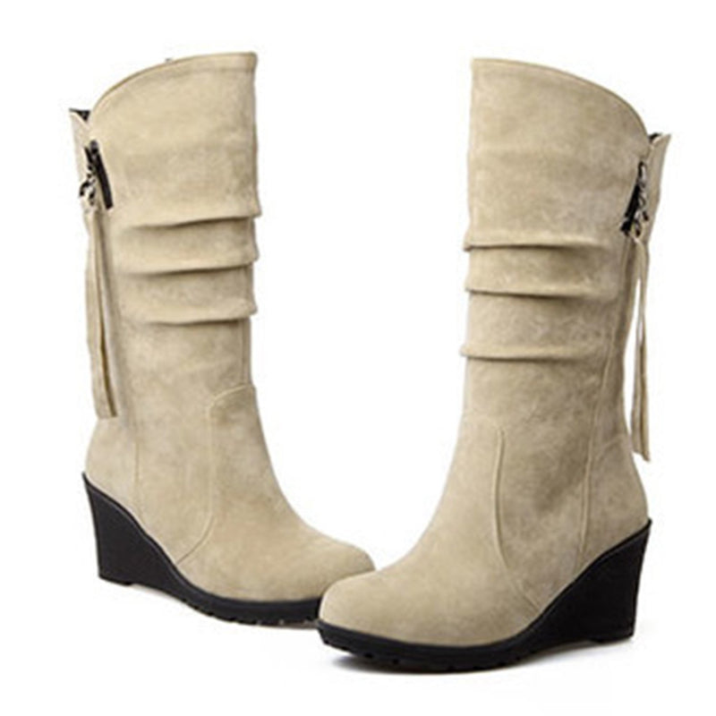 Women's Round Toe Wedge Heels Solid Mid-calf Boots
