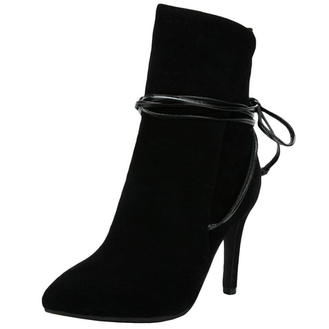 Women's Fashion Pointed Toe Solid Color Ankle Boots