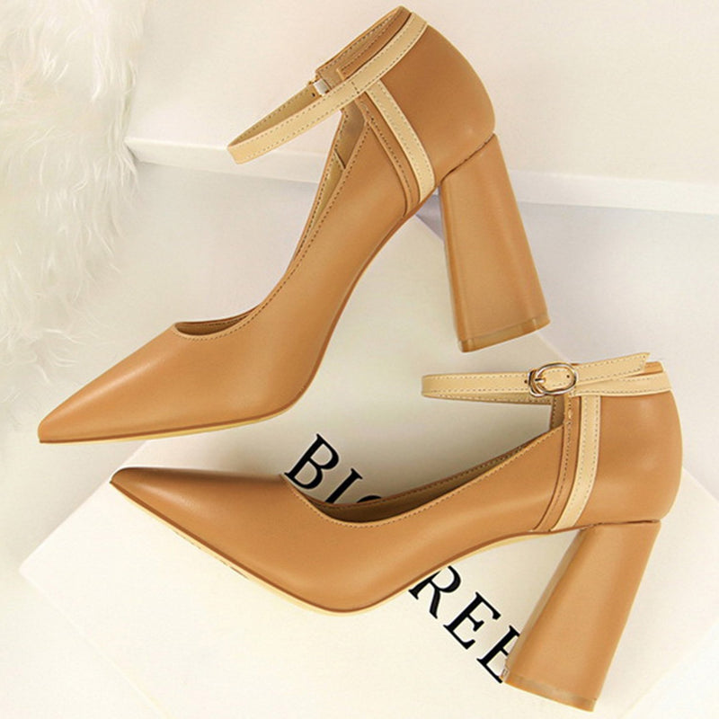 Women's Fashion Pointed Toe Solid Color Square Heels