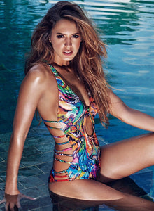 Women's Strappy Back Printed Swimsuit