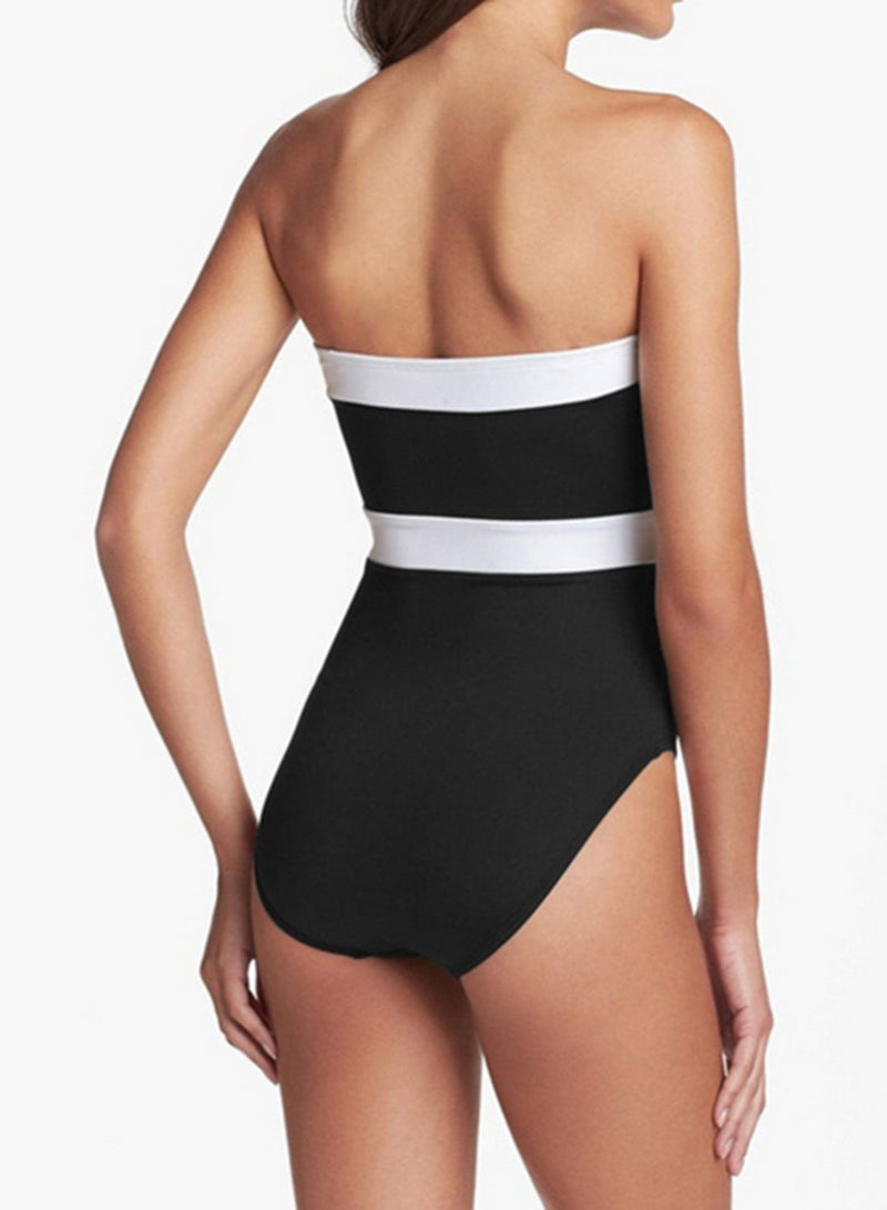 Women's Strapless Color Block One Piece Swimsuit