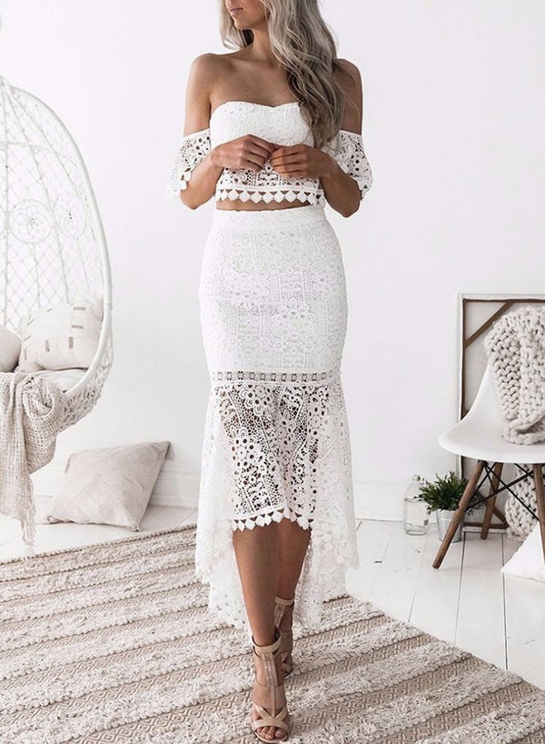 Women's Fashion Crop Top Lace 2 Piece Mermaid Skirt Set