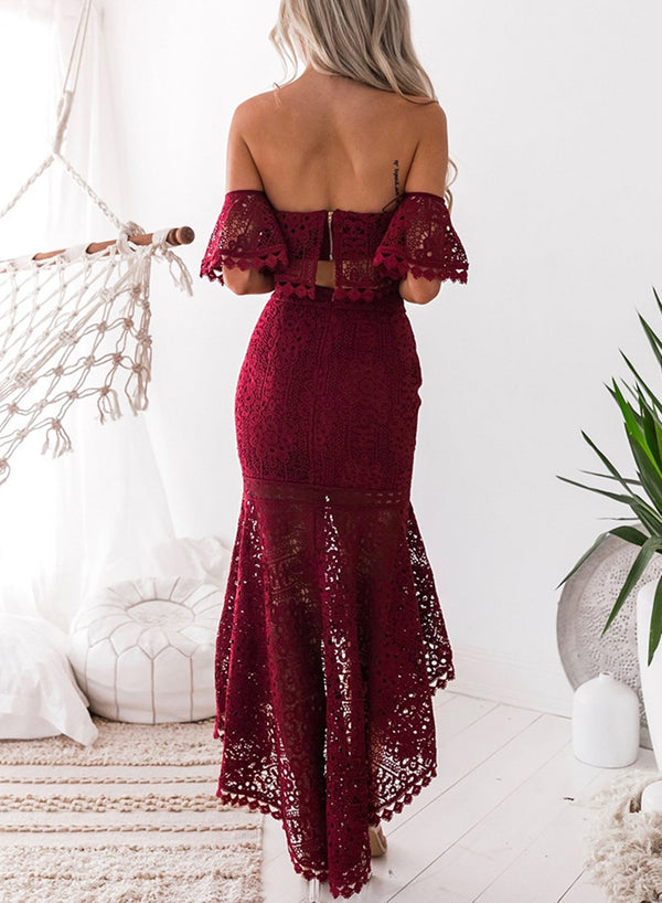 Burgundy Women's Fashion Crop Top Lace 2 Piece Mermaid Skirt Set