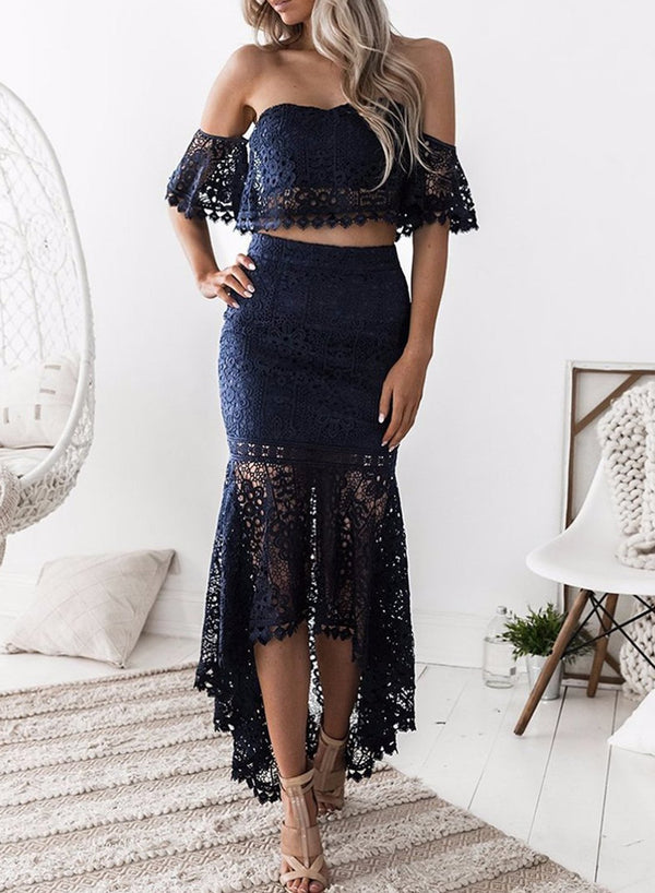 Navy Women's Fashion Crop Top Lace 2 Piece Mermaid Skirt Set
