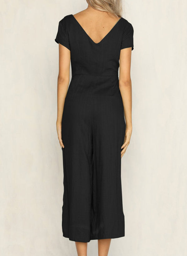 Casual Short Sleeve V Neck Front Buttons Wide Leg Jumpsuit With Pockets