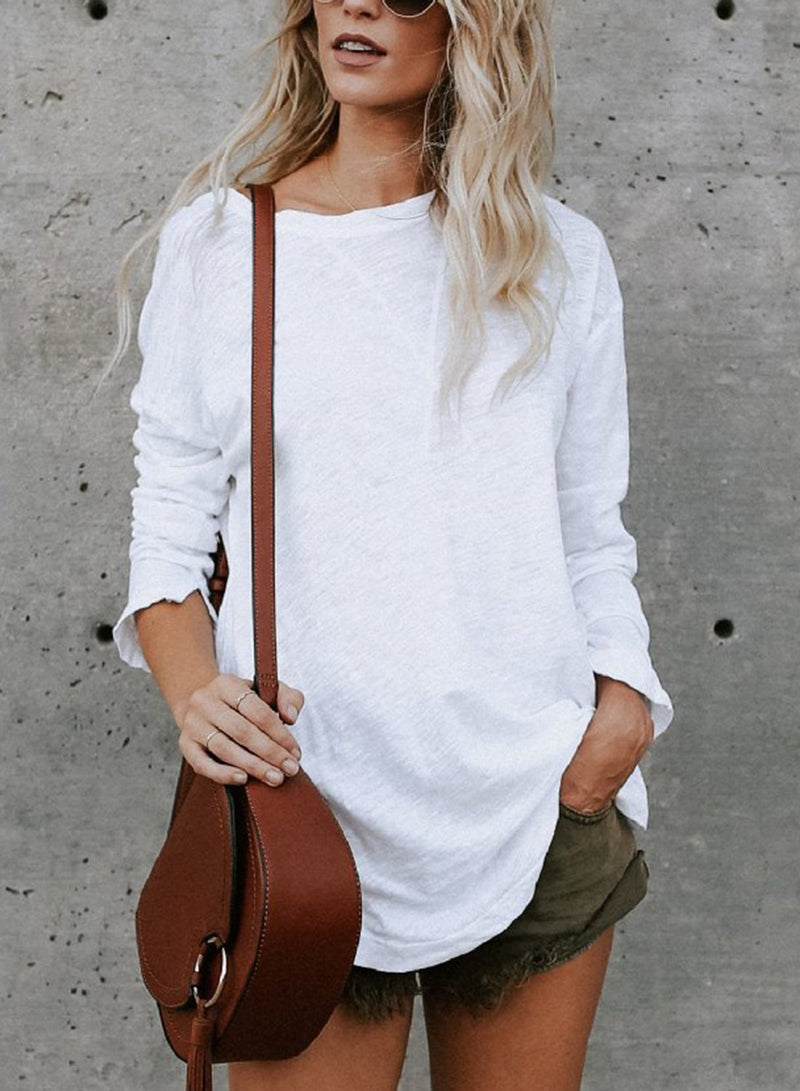 Casual Round Neck Long Sleeve Loose Solid Color Tee