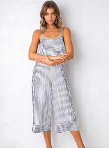 White Striped Spaghetti Strap Round Neck Backless Wide Leg Jumpsuit