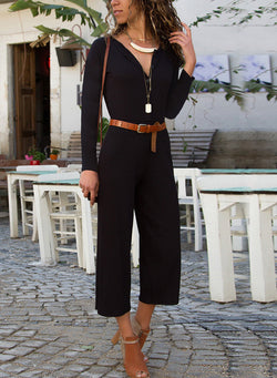 Long Sleeve Open Frent Capri Jumpsuit