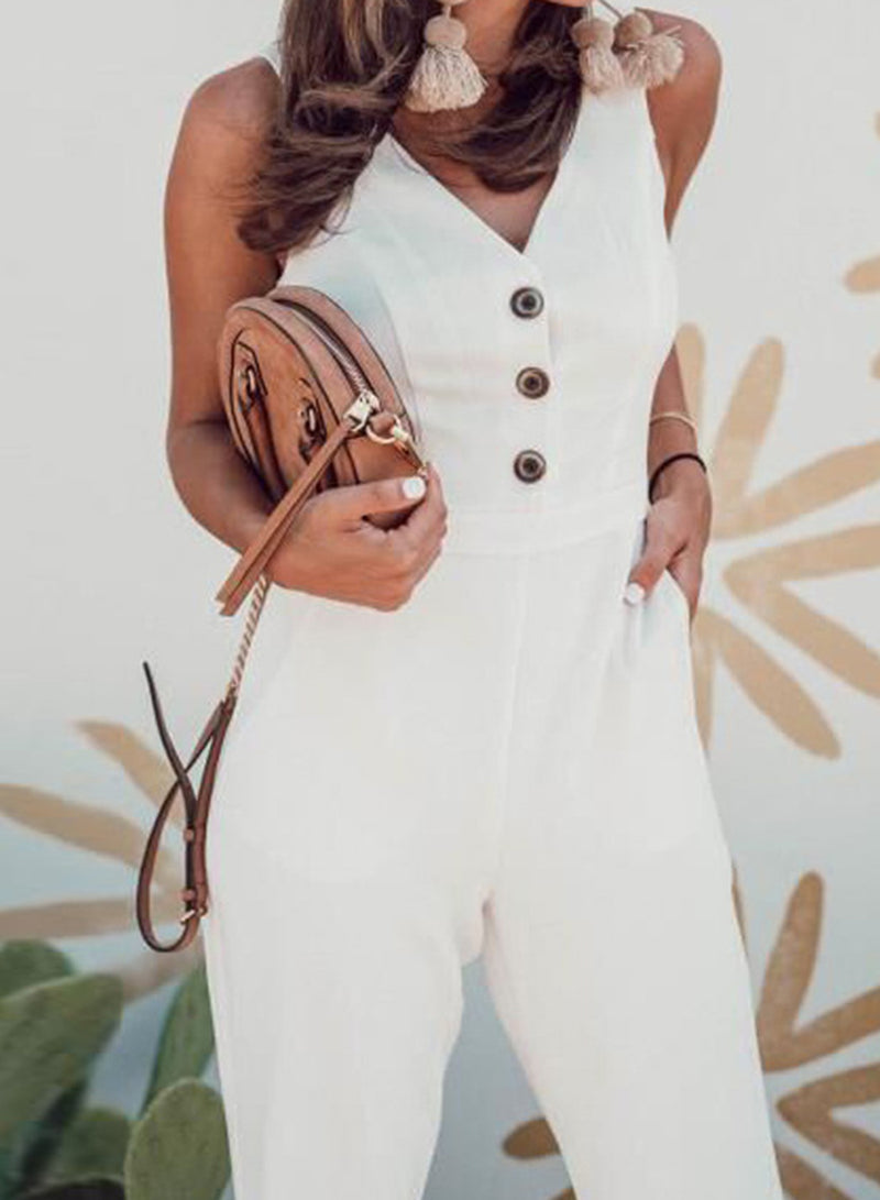 White Sleeveless Open Frent  Wide Leg Jumpsuit
