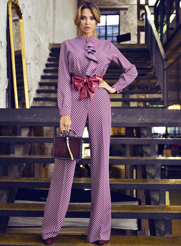 Purple Bows Sashes office Argyle Women's Jumpsuits
