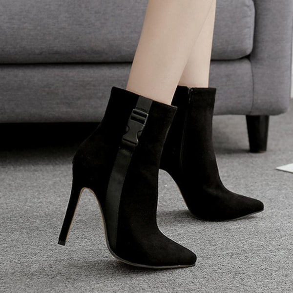 Contrast High Heel Ankle Boots