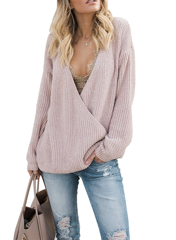 Deep V Neck Solid Office Lady Plain Sweater - Grilchic