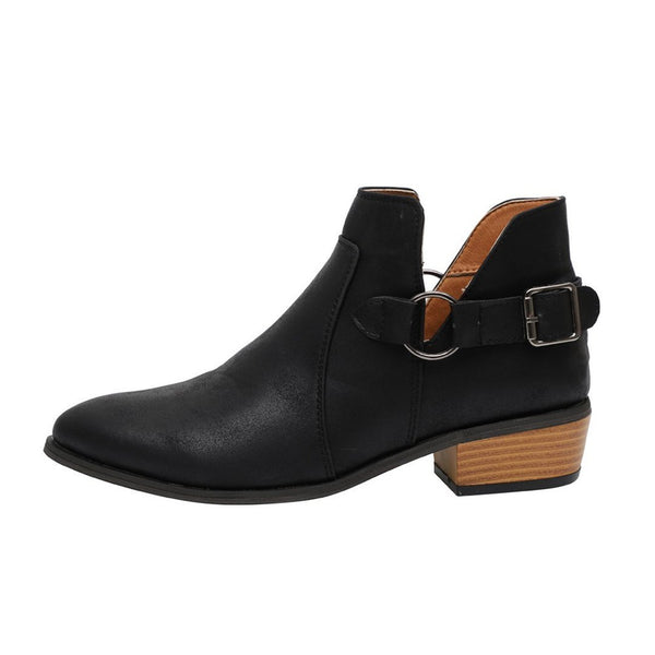 Buckle Square Heel Booties