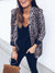 Brown Leopard Print Long Sleeve Printed Lapel Blazers