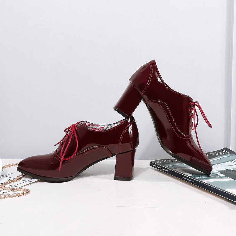 Pointed Toe Solid Color Lace-up Square Heels