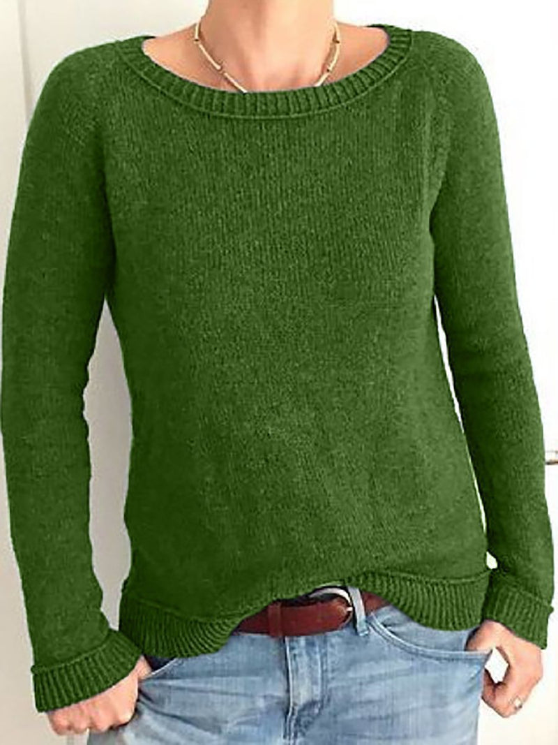 Round Neck Solid Elegant  Knitted Sweater For Lady