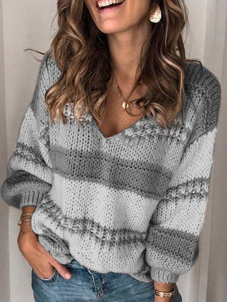 Long Sleeve V Neck Striped Sweater