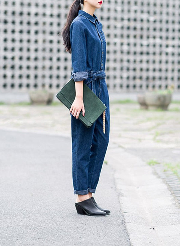 Long Sleeve Casual Denim Jumpsuits