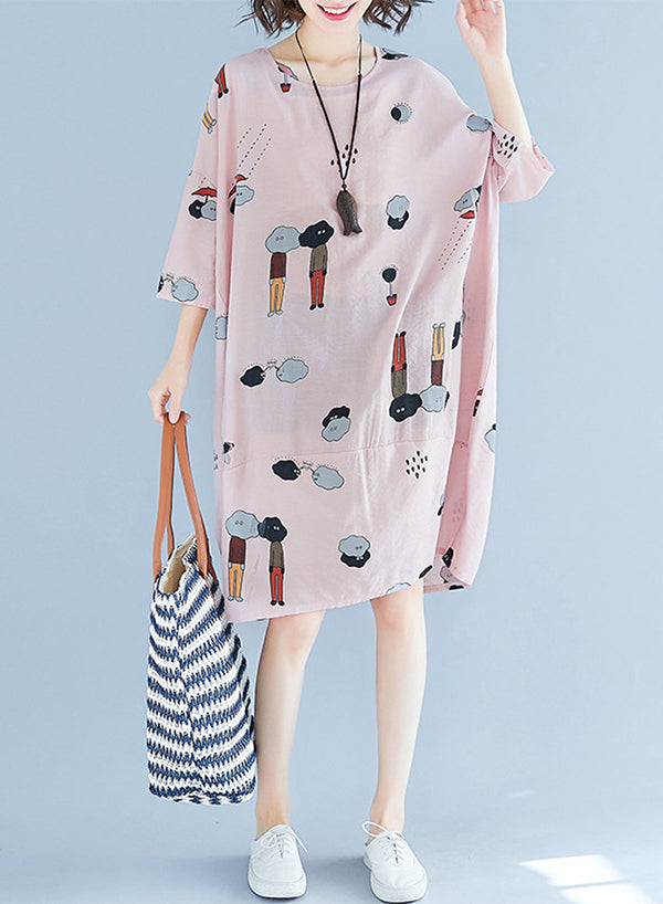 3/4 Sleeve Cartoon Print O-neck Midi Dress