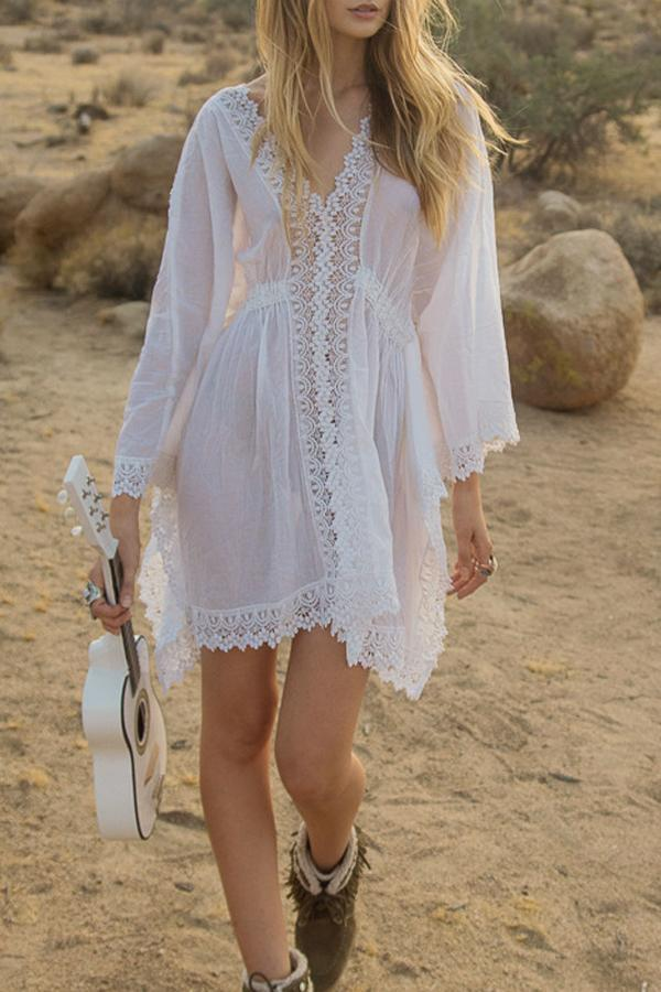 Lace Panel White Cover Up
