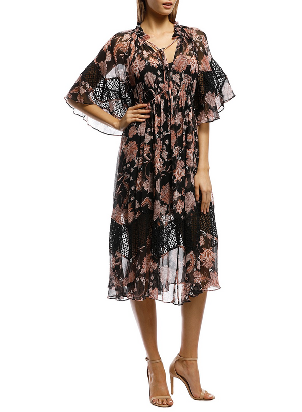 High Neck Print Midi Dress