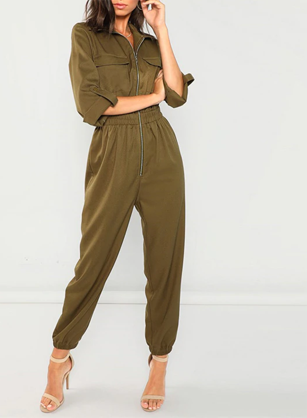Army Green Casual Zip Up Jumpsuit