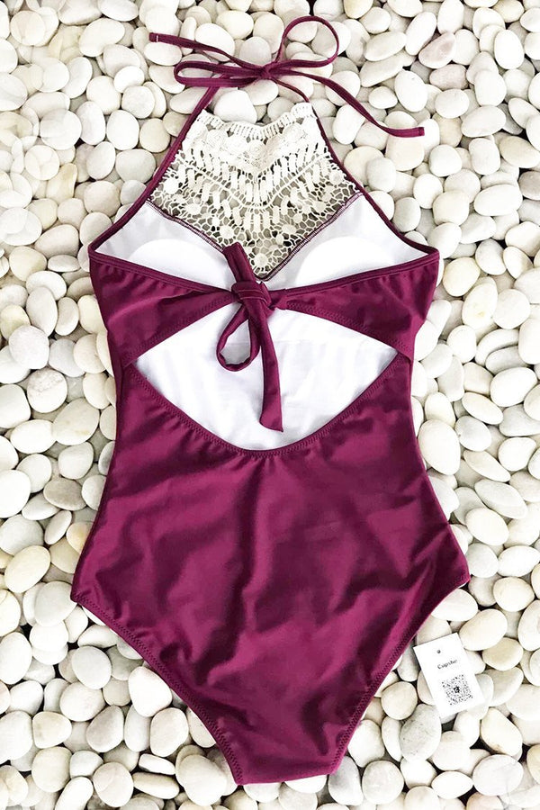 Wine Red Broken Halter One-piece Swimsuit
