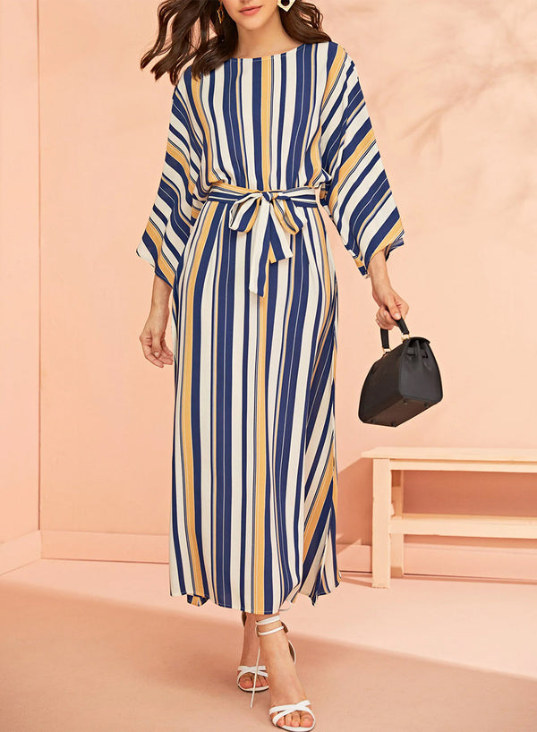 Colorful Striped Round Neck Belted Maxi Dress