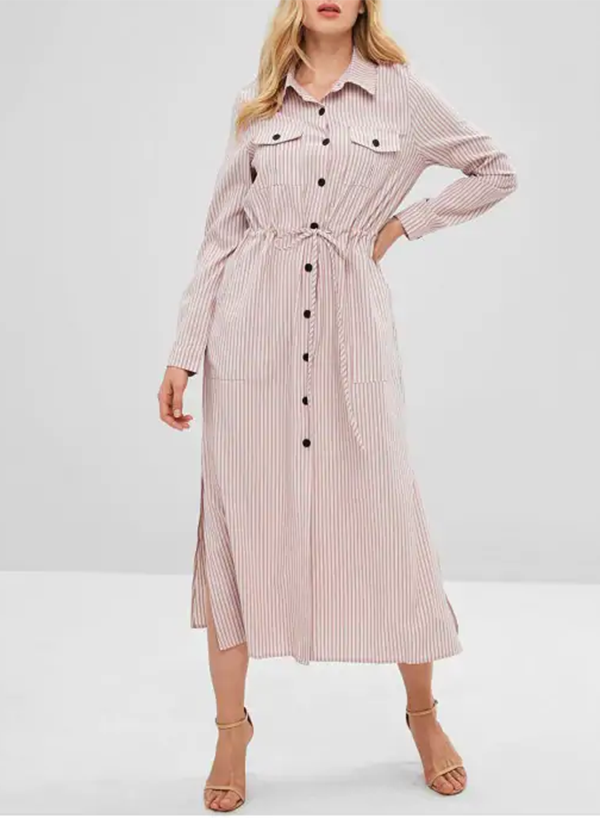 Striped Drawstring Shirt Midi Dress