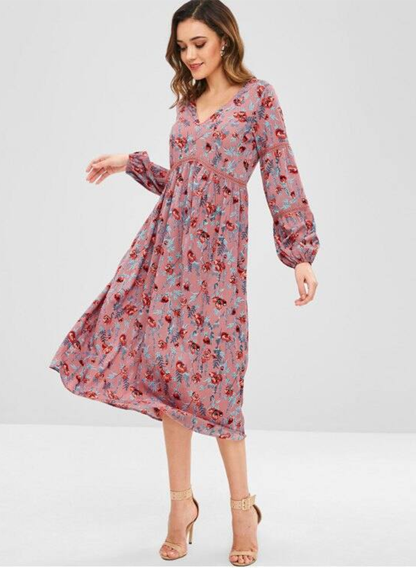 V Collar Floral Long Sleeve Midi Dress