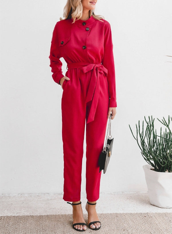Long Sleeve Stand Neck Jumpsuit
