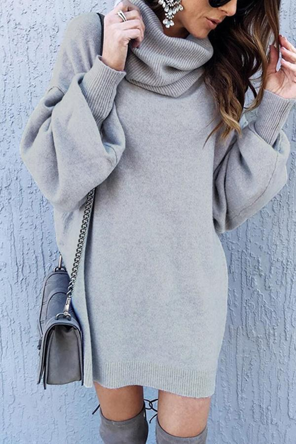 Turtleneck Solid Sweater Dress