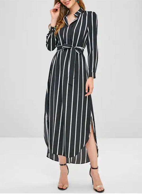Long Sleeves Stripes High Low Slit Maxi Dress