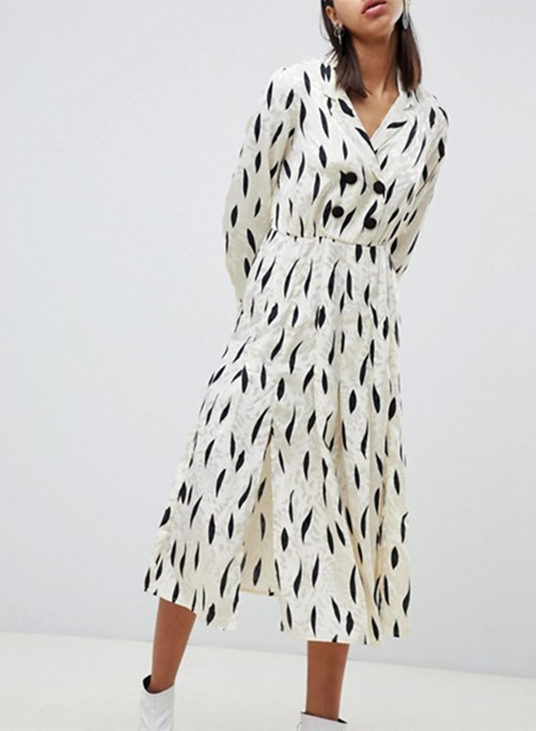 Long Sleeves Pleated Maxi Dress