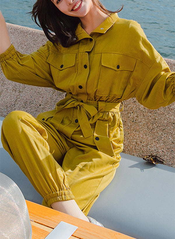 Yellow Pockets Sashes Jumpsuit